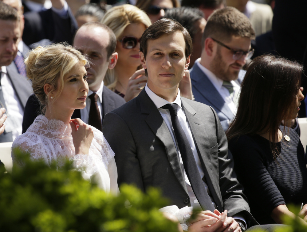 Ivanka Trump and her husband, White House adviser Jared Kushner, sit in the front row for a  joint news conference at the White House in Washington on April 5.