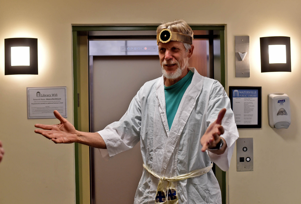 John Lovejoy plays a maniacal doctor named Dr. Dementia on Friday while performing for his two-minute film during a workshop hosted by the Maine International Film Festival at the Waterville Public Library in Waterville.