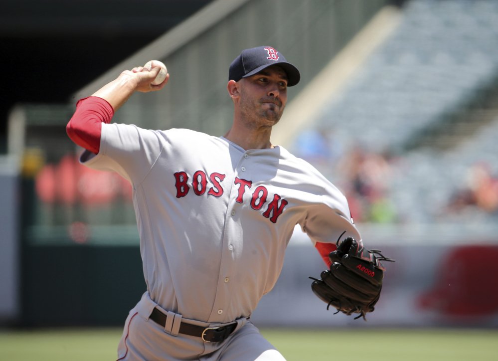 Red Sox starter Rick Porcello allowed three runs on five hits in eight innings but took as the Red Sox fell to the Los Angeles Angels in Anaheim, California on Sunday.