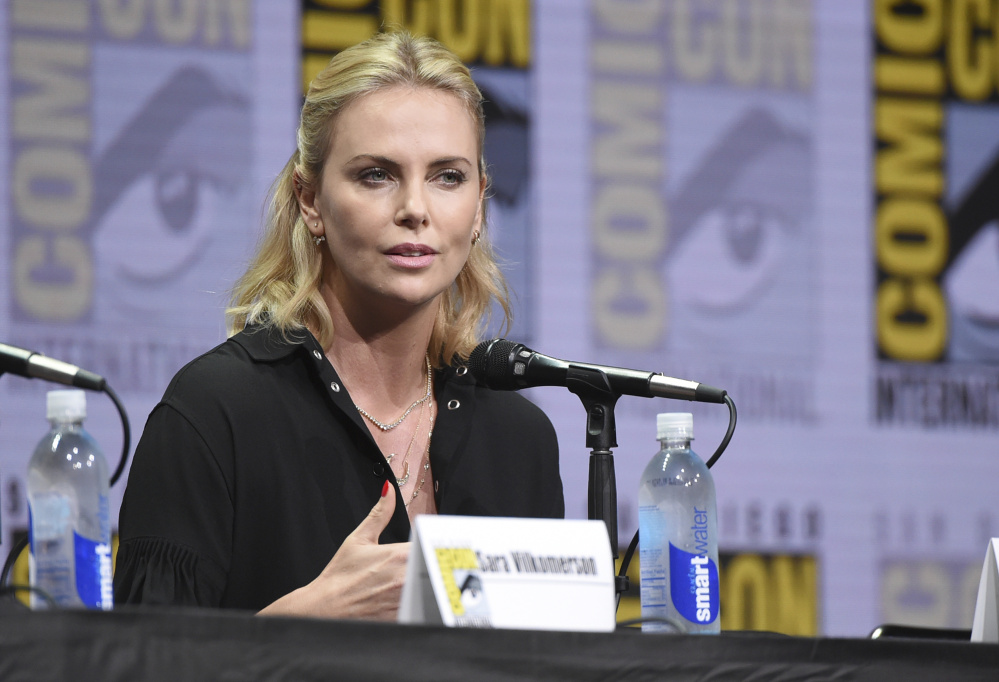 Charlize Theron speaks at Comic-Con on Saturday in San Diego.