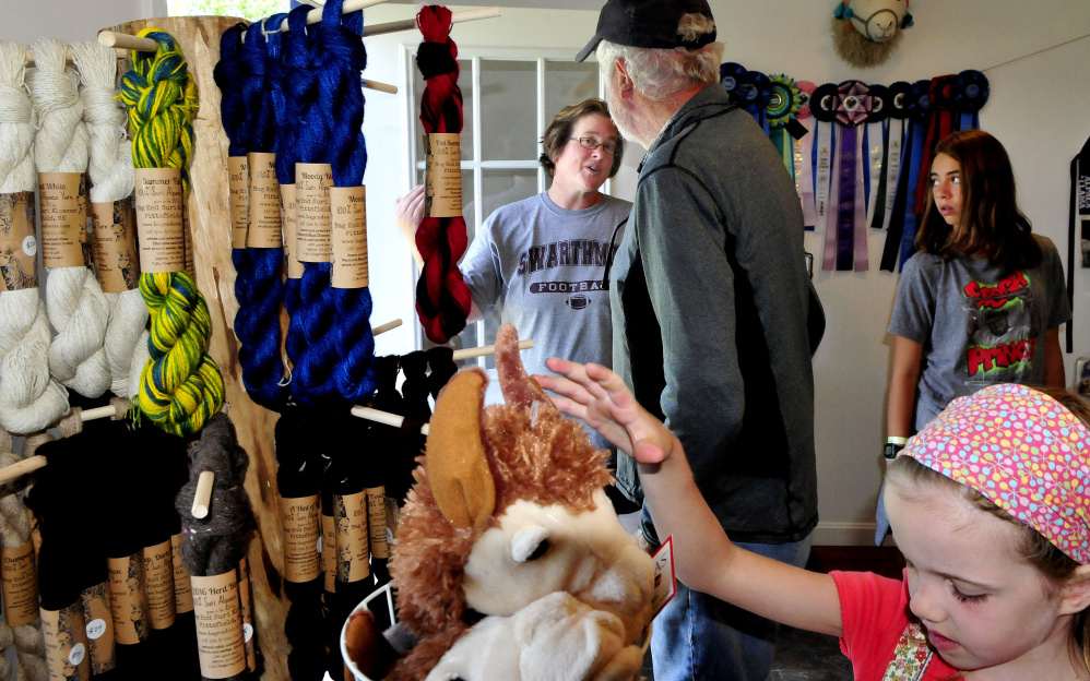 Jill McElderry-Maxwell speaks with William Reid inside her shop Sunday at the Bag End Suri Alpacas of Maine farm in Pittsfield during Maine Open Farm Day.
