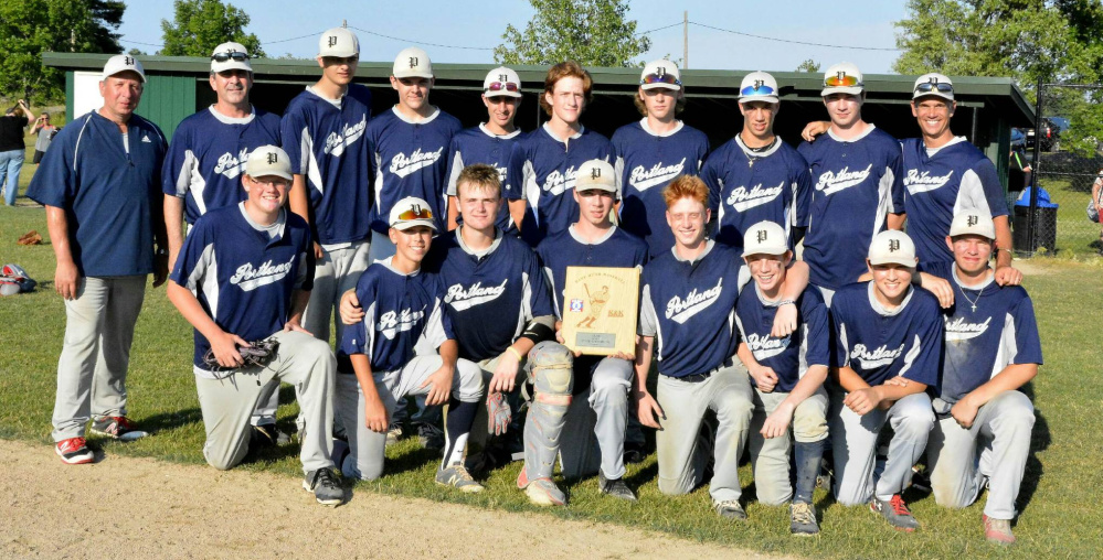The Portland Babe Ruth team won the state championship for 13- to 15-year-olds and is 2-1 after pool play in the New England regional tournament. Portland plays in the elimination portion of the tournament on Tuesday. Team members, from left to right: Front row – Luke Hill, Henry Westphal, Caden Horton, Brian Riley, Sonny Villani, Robby Sheils, Chris Cimino and Garon Kelley; Back row – Coach Chris Kelley, Coach Dan Riley, Mike Jones, Chris Naylor, Max Brown, Griffin Buckley, Cole Potter, Nate Rogers, Liam Riley and Manager Matt Rogers.