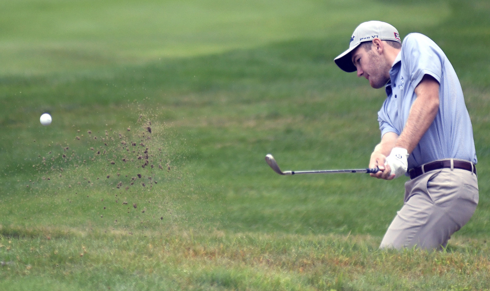 MANCHESTER, ME - JULY 24: Sam Grindle, of Deer Isle, works Monday July 24, 2017 his way out of a bunker during the first round of the Maine Open in Manchester. (Staff photo by Andy Molloy/Staff  Photographer)