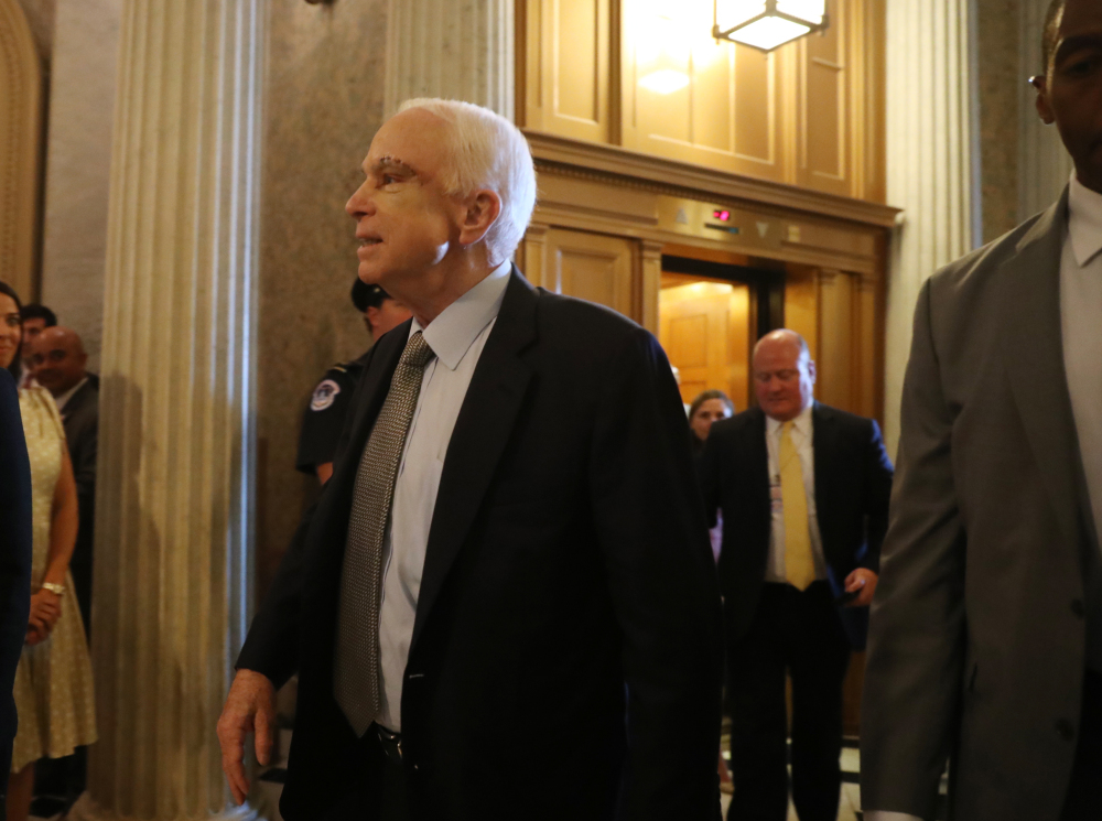 Sen. John McCain, R-Ariz., arrives Tuesday on Capitol Hill in Washington.
