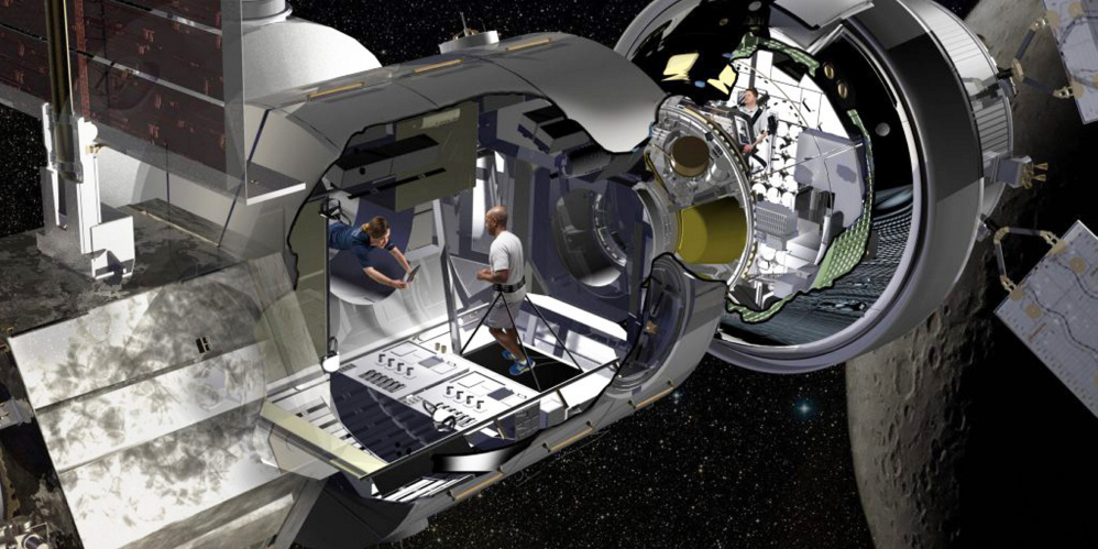 In this artist's rendering of Lockheed Martin's habitat prototype, robotics work stations will be among the amenities offered to astronauts on long space flights.