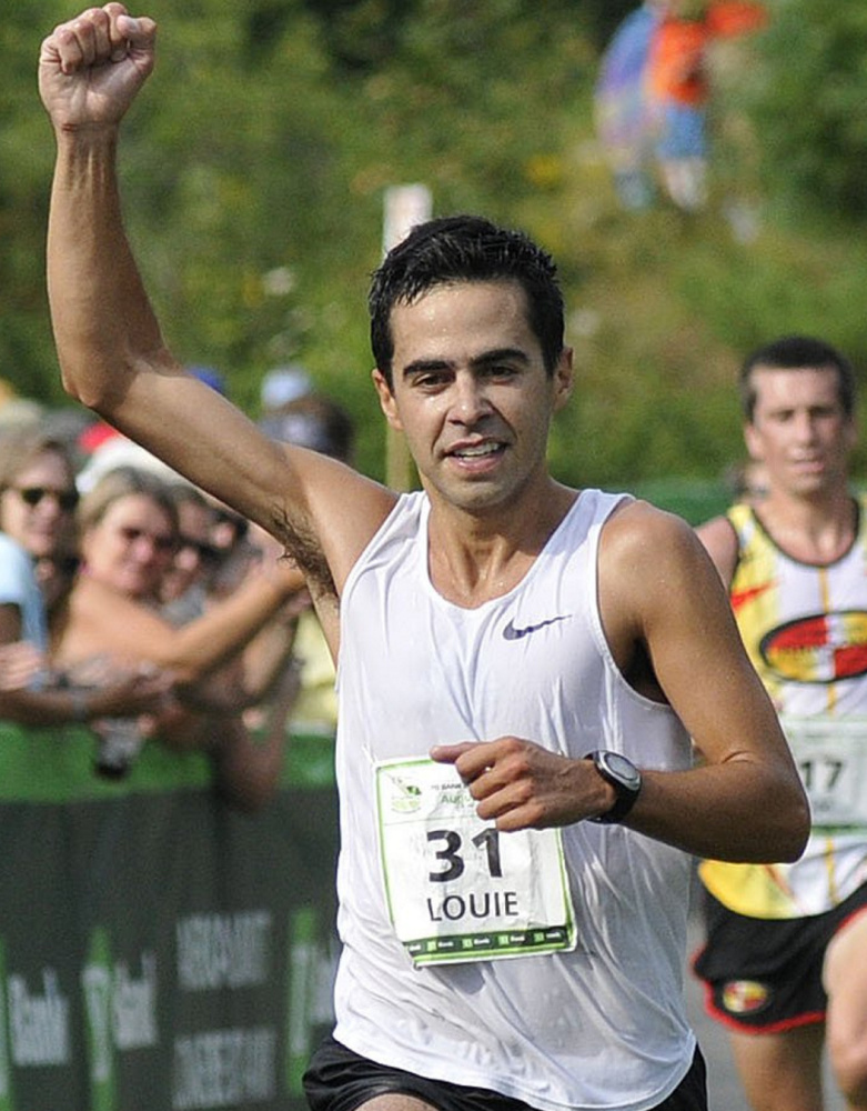 Louie Luchini battled the heat and humidity in the 2011 race to win the Maine men's division.