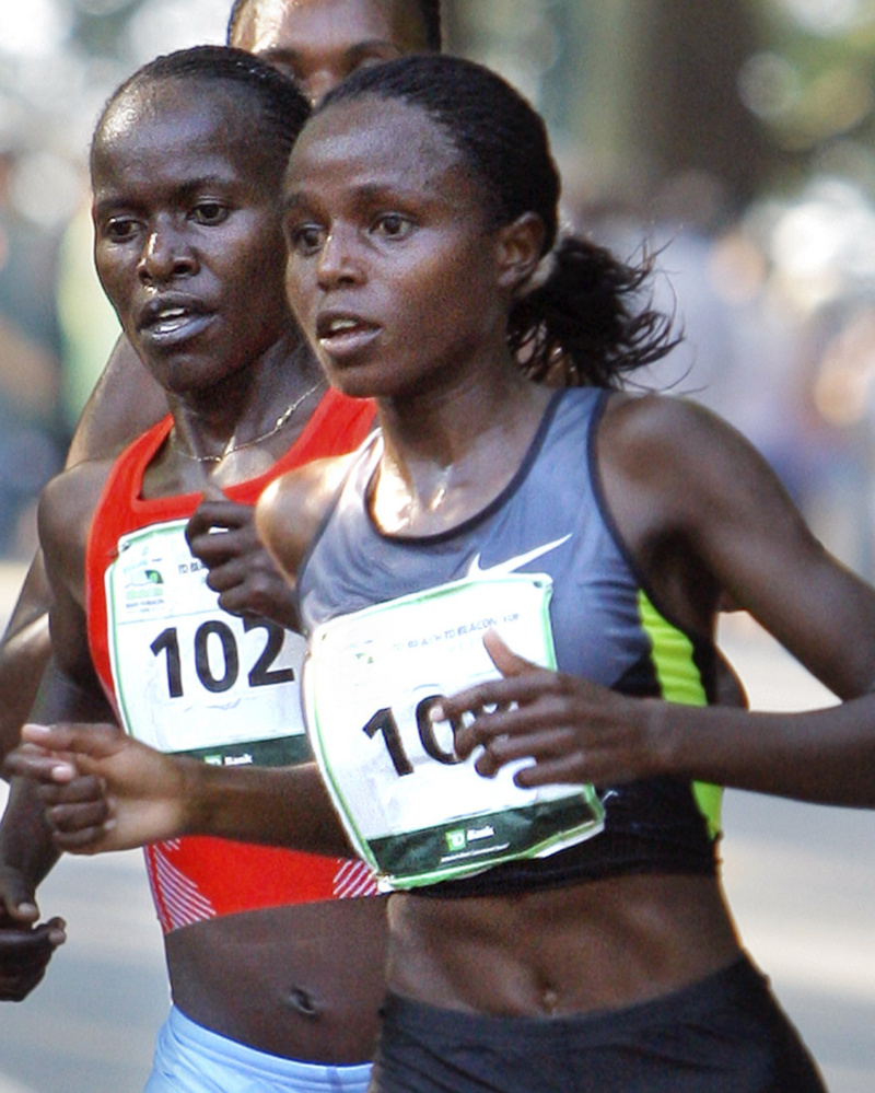 Margaret Wangari was the first woman finisher by six-tenths of a second.