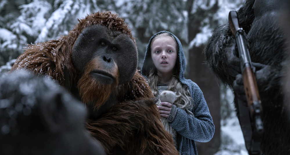 "Karin Konoval, left, and Amiah Miller in ""War for the Planet of the Apes,"" which has a 93 percent score on Rotten Tomatoes."
