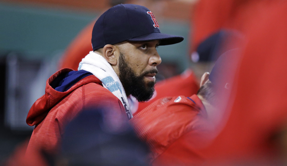 Red Sox starting pitcher David Price was relegated to the dugout for Friday night's game against Kansas City after he was placed on the disabled list with a recurrence of his elbow injury.