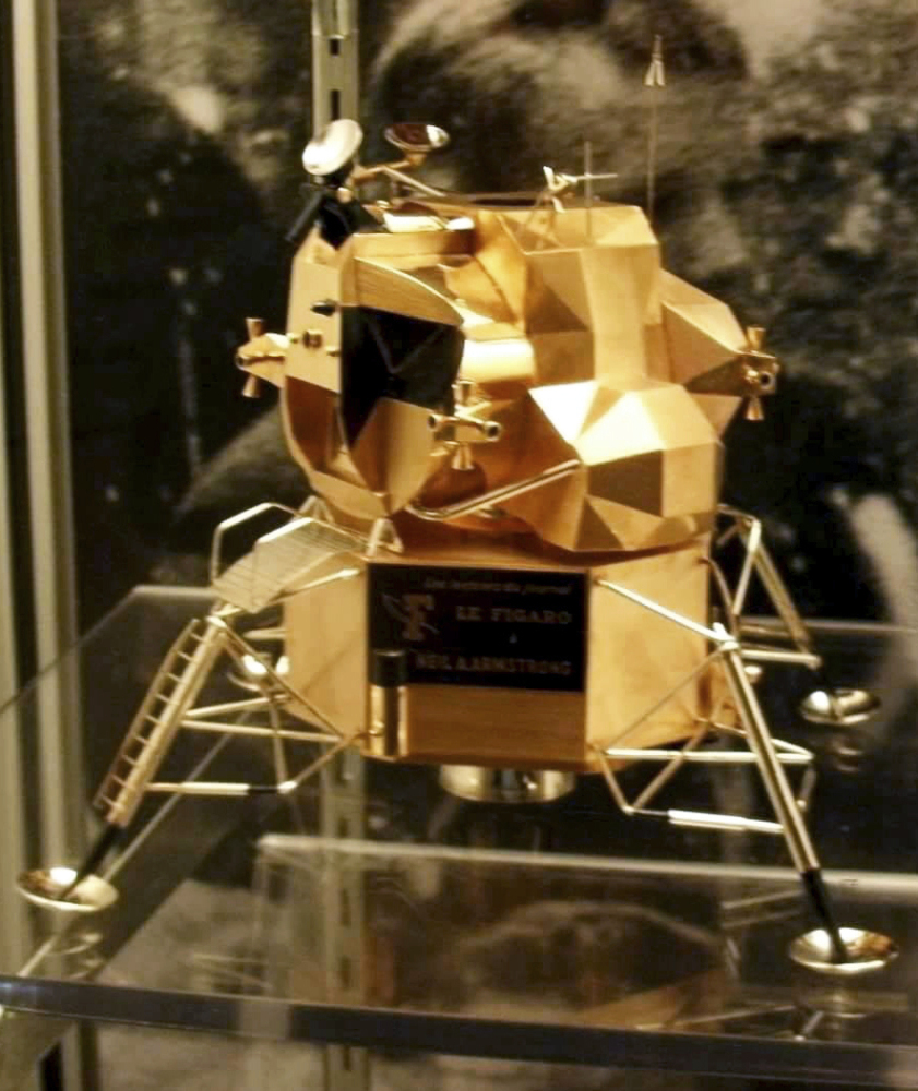 A gold replica of a lunar module stolen from the Armstrong Air and Space Museum in Wapakoneta, Ohio, was made by French jeweler Cartier.