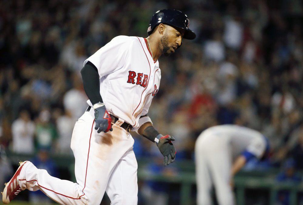 Boston's Eduardo Nunez rounds first base on one of his two home runs Saturday versus Kansas City at Fenway Park. Nunez is 5 for 12 so far with the Red Sox. (AP Photo/Michael Dwyer)