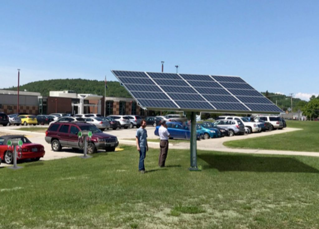 This photo illustration shows how a solar-powered electric vehicle charging station will look after it's installed next month at Oxford Hills Comprehensive High School in South Paris.