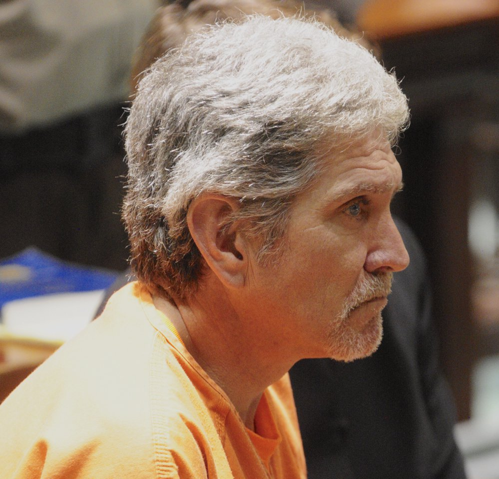 James Sweeney appears in Androscoggin County Superior Court in July 2017, when he faced a judge for the first time on a charge of murder in connection with the death of his girlfriend, Wendy Douglass.