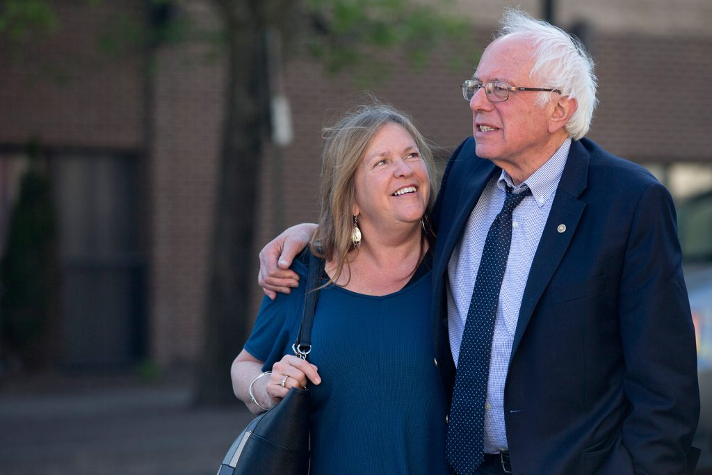 Sen. Bernie Sanders, I-Vt., and his wife, Jane, take a walk in State College, Pa. Federal prosecutors have stepped up a probe of a land deal made by Jane Sanders when she was head of a now-defunct Vermont college.