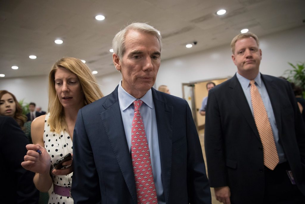 Sen. Rob Portman, R-Ohio, shown last week, has proposed offering tax credits that people on Medicaid would receive to buy private health plans.