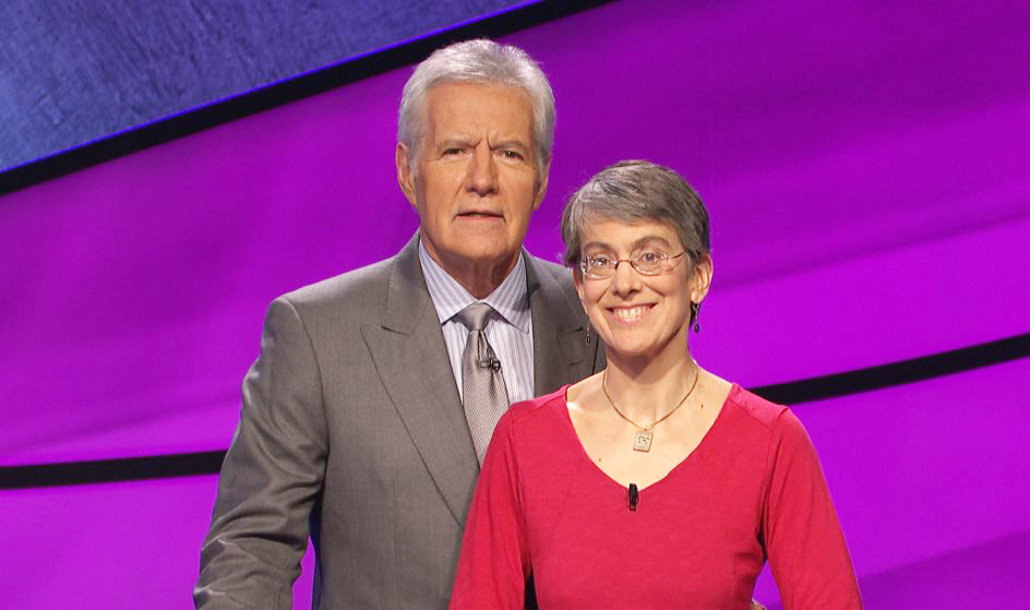 "Vicky Smith of South Portland, shown here with host Alex Trebek, will compete on the TV quiz show ""Jeopardy!"" Friday. The show airs locally on WMTW, Channel 8."
