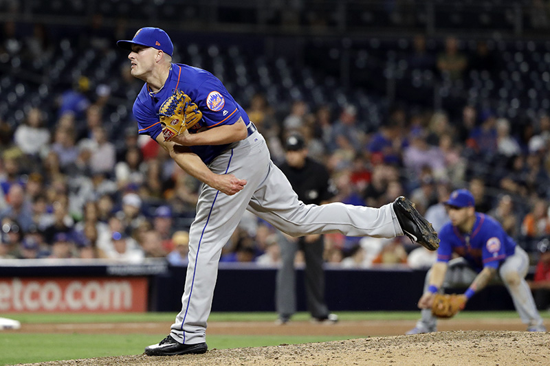 New York Mets closer Addison Reed pitches against the Padres on July 25 in San Diego. The Red Sox, who picked up Reed on Monday, are counting on him to be effective late in games.