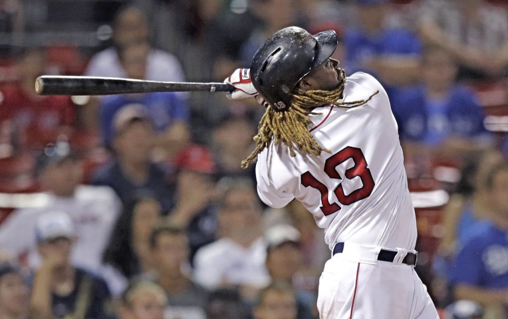 Hanley Ramirez launches his game-winning solo home run during the 15th inning of Wednesday night's game against the Blue Jays at Fenway Park.