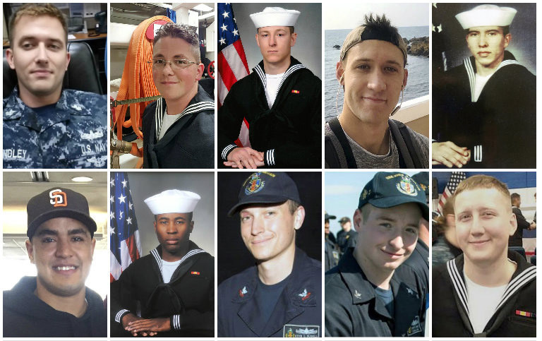 Sailors who died aboard the USS John S. McCain were, top row:  Electronics Technician 1st Class Charles Nathan Findley; Electronics Technician 3rd Class John Henry Hoagland III; Electronics Technician 3rd Class Kenneth Aaron Smith; Electronics Technician 3rd Class Dustin Louis Doyon; Interior Communications Electrician 1st Class Abraham Lopez. Bottom row, Information Systems Technician 2nd Class Timothy Thomas Eckles Jr.; Information Systems Technician 2nd Class Corey George Ingram; Electronics Technician 2nd Class Kevin Sayer Bushell; Electronics Technician 3rd Class Jacob Daniel Drake; Interior Communications Electrician 3rd Class Logan Stephen Palmer.