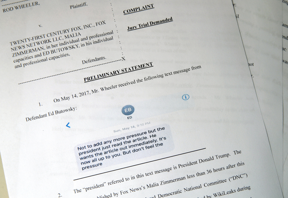 Rod Wheeler's lawsuit against Fox News is photographed Tuesday in Washington. Wheeler, an investigator who worked on the Seth Rich case, claims Fox News fabricated quotes implicating a slain Democratic National Committee staffer in the WikiLeaks scandal and coordinated with the Trump administration as it worked on the story.