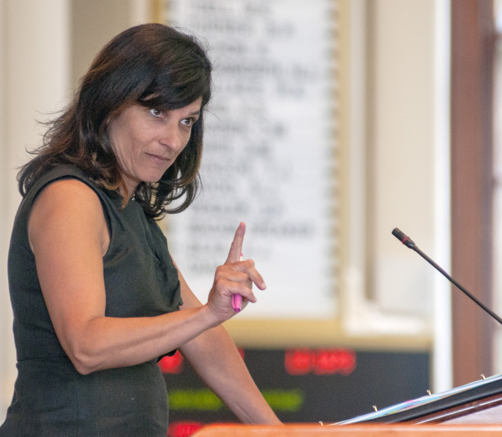 House Speaker Sara Gideon, D-Freeport, answers a question during debate Wednesday in the House chamber.