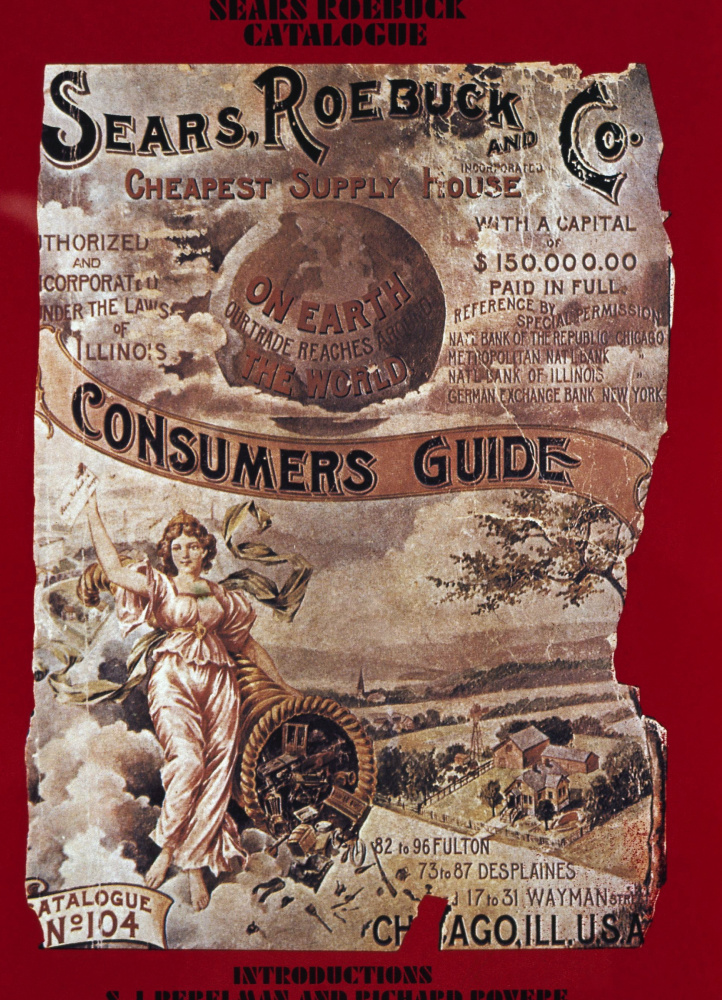 This is a undated photo of a vintage Sears and Roebuck catalog cover. At one point in history nearly one in 200 people worked for Sears.