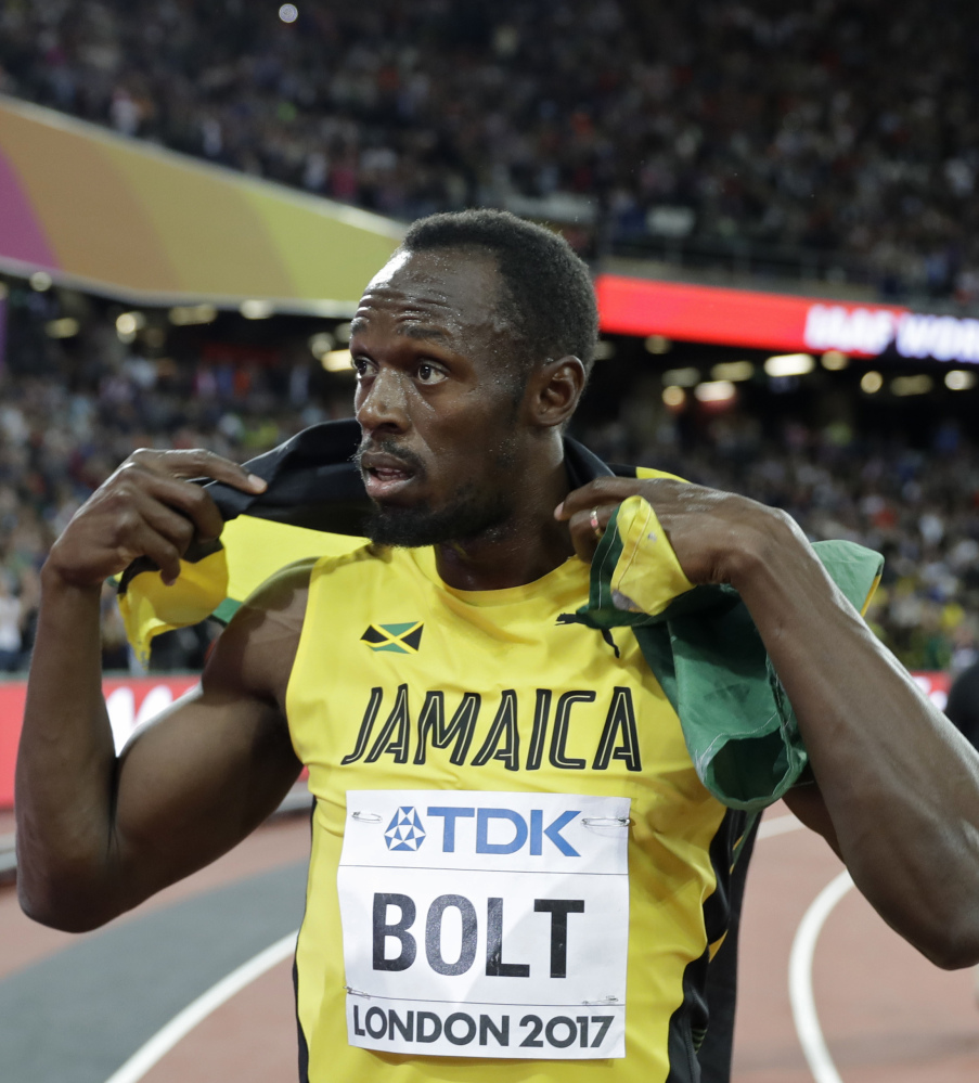 Usain Bolt, who was seeking a fourth 100-meter gold medal and 12th gold medal overall in the world championships, instead finished third Saturday in London.
