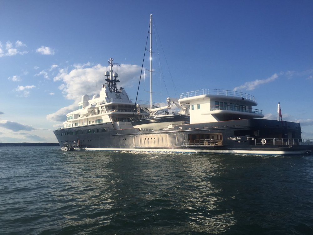 The 370-foot-long Le Grand Bleu is anchored near Fort Gorges on Sunday. It is listed as the 31st largest yacht in the world.
