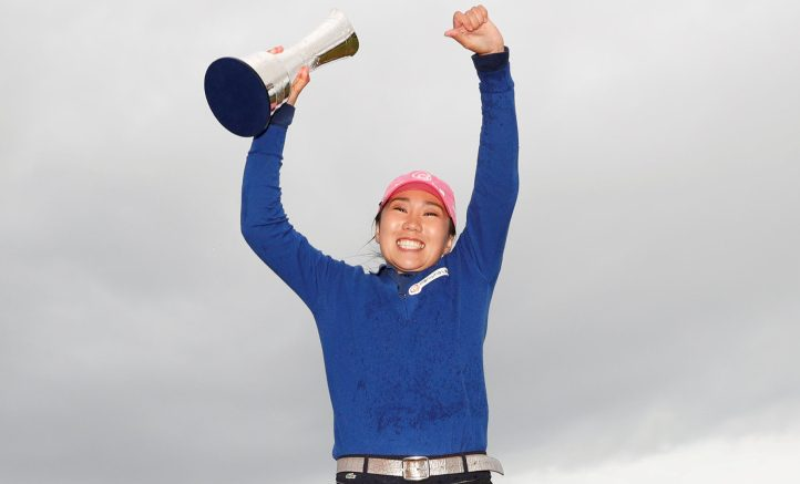 South Korea's I.K. Kim celebrates her victory at the Women's British Open in St. Andrew's, finishing with a 1-under 72 for a two-shot win over Jodi Ewart Shadoff.