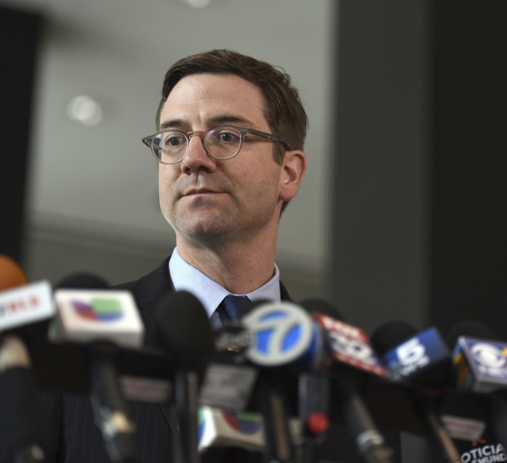 City of Chicago's attorney Ed Siskel speaks during a news conference about the city's lawsuit on Monday.