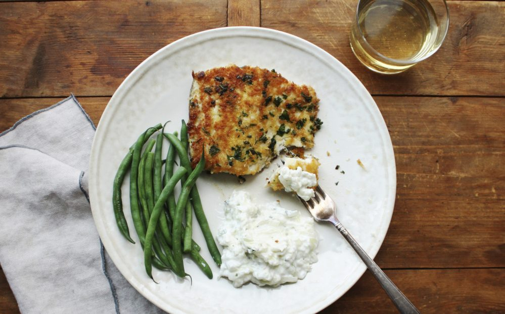 Panko-crusted fish with tzatziki. Tzatziki is one of the most classic Greek sauces, served with everything from pita to lamb to seafood.