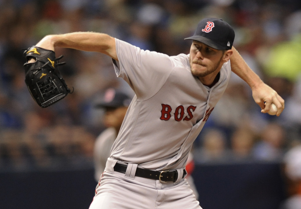 Boston's Chris Sale, seen pitching on Aug. 8, had one of his worst starts of the season Thursday, just when the Red Sox appeared to be pulling away in the AL East.