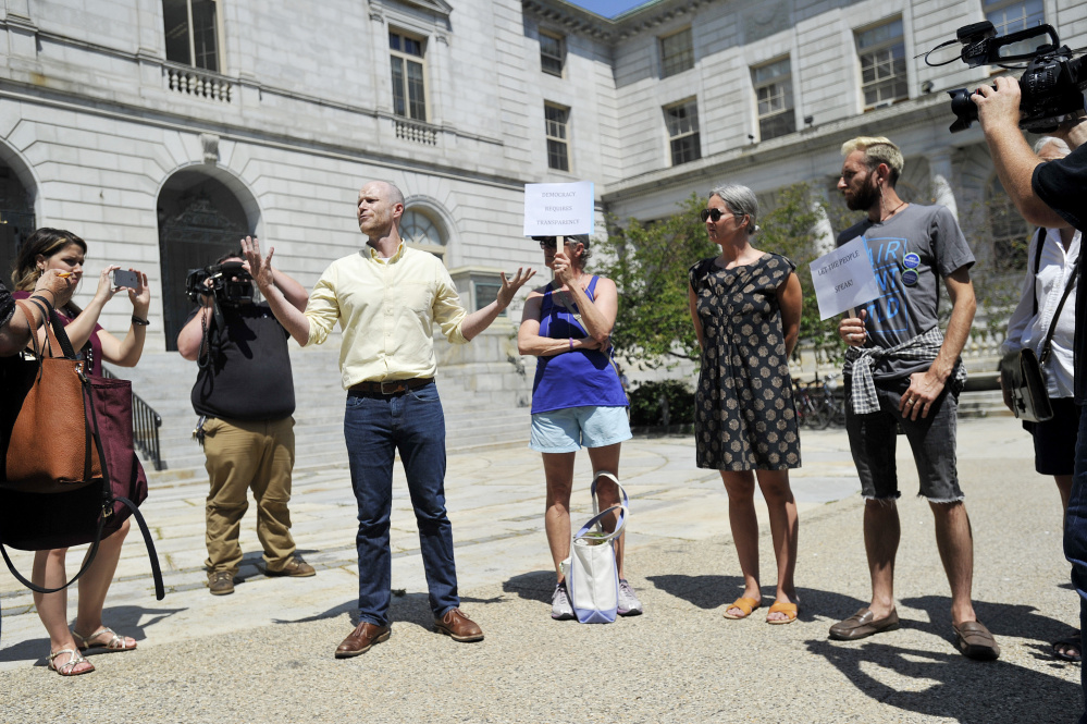 PORTLAND, ME - AUGUST 9: Jack O'Brien a member of Fair Rent Portland speaks during a rally at City Hall in Portland to reign in rents Wednesday, August 9, 2017. (Staff photo by Shawn Patrick Ouellette/Staff Photographer)