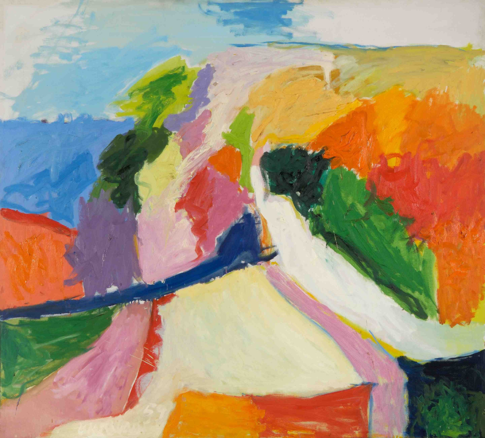 """Hill & Sea,"" 1959, oil on canvas, 57.5 by 63.5 inches."