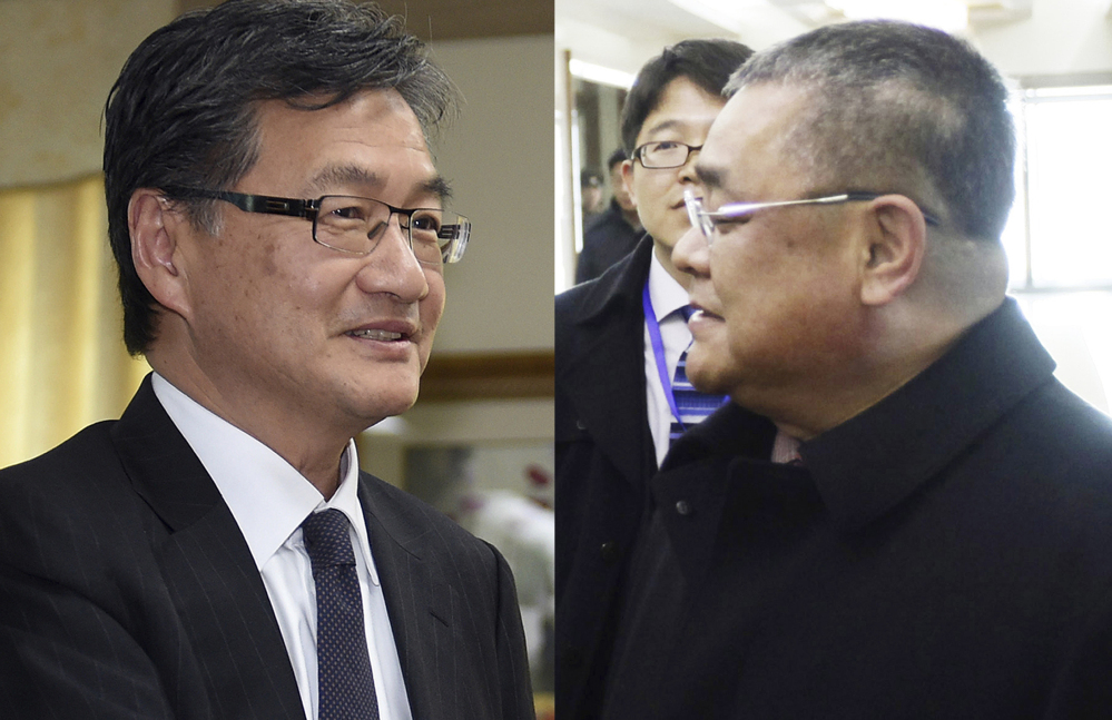 U.S. envoy for North Korea policy Joseph Yun, left, seen in Seoul, South Korea, on March 22, and senior North Korean diplomat Pak Song Il, seen in Pyongyang, North Korea, on Feb. 2, 2016, have been in contact regularly, according to U.S. officials and others briefed on the process.