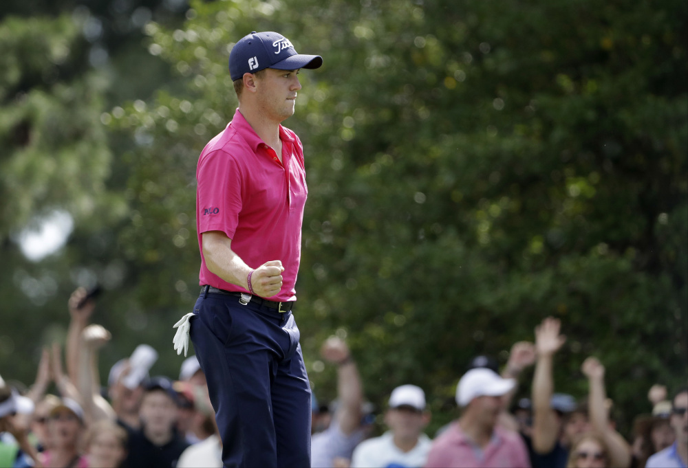 Justin Thomas celebrates a birdie on the ninth hole during the final round of the PGA Championship. Thomas shot a 3-under 68 and finished with a two-stroke victory for his first major championship.
