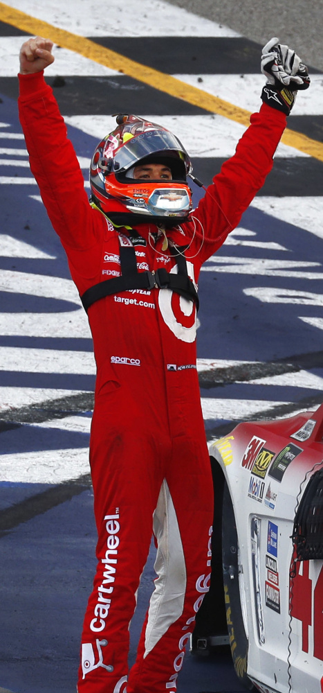 Associated Press/Paul Sancya Kyle Larson celebrates after he joined Martin Truex Jr. and Jimmie Johnson as the only Cup Series drivers with at least three victories in 2017.