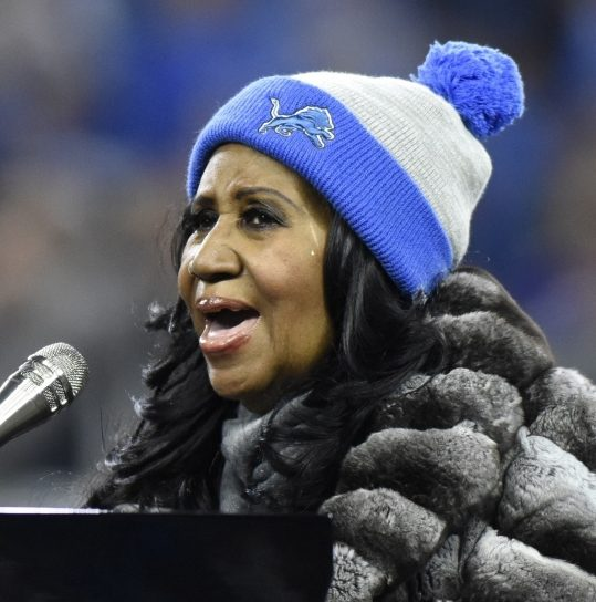 Aretha Franklin performs the national anthem before an NFL game  between Detroit and Minnesota in 2016.