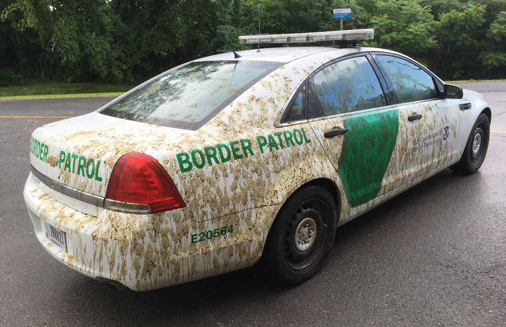 The U.S. Border Patrol car that was sprayed with manure in Alburgh, Vt.