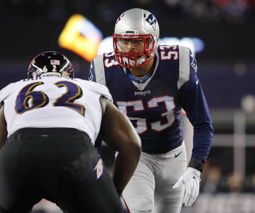 Patriots linebacker Kyle Van Noy, right, never really clicked with Detroit after the Lions took him in the second round in 2014, but he made an impact in New England last season – and looks to be getting better.