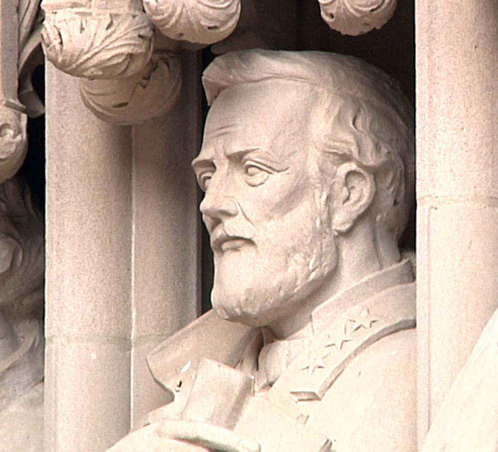 The now-removed statue of Confederate Gen. Robert E. Lee at the entrance to Duke Chapel in Durham, N.C., before it was vandalized last week after the Charlottesville, Va., turmoil.