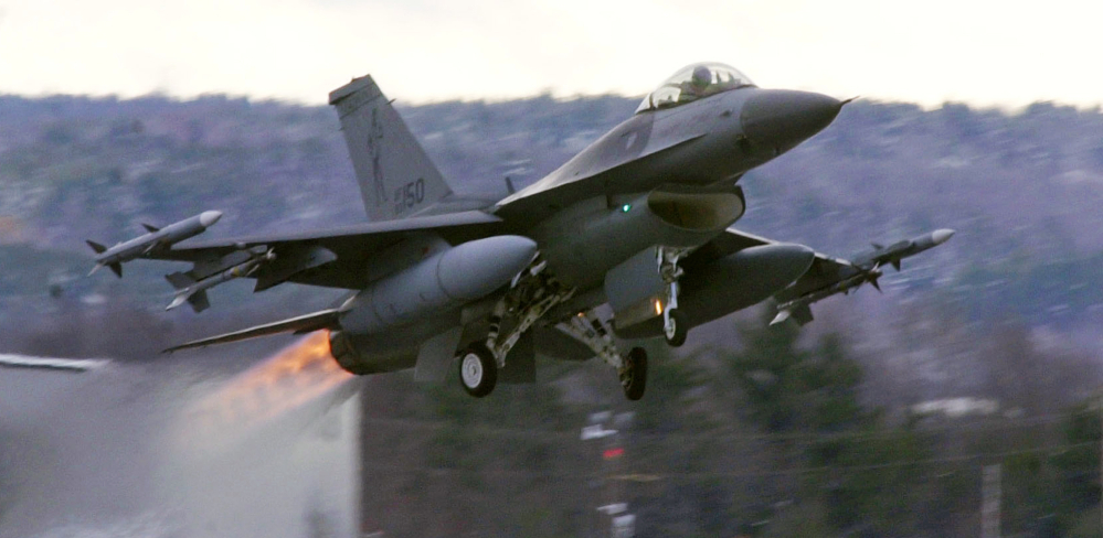 Vermont-based F-16 fighters such as this one at the Air National Guard base in South Burlington are set to be replaced by stealthy F-35 fighters that won't be allowed to fly as low, cutting by more than two-thirds the number of low-flying jets each year.