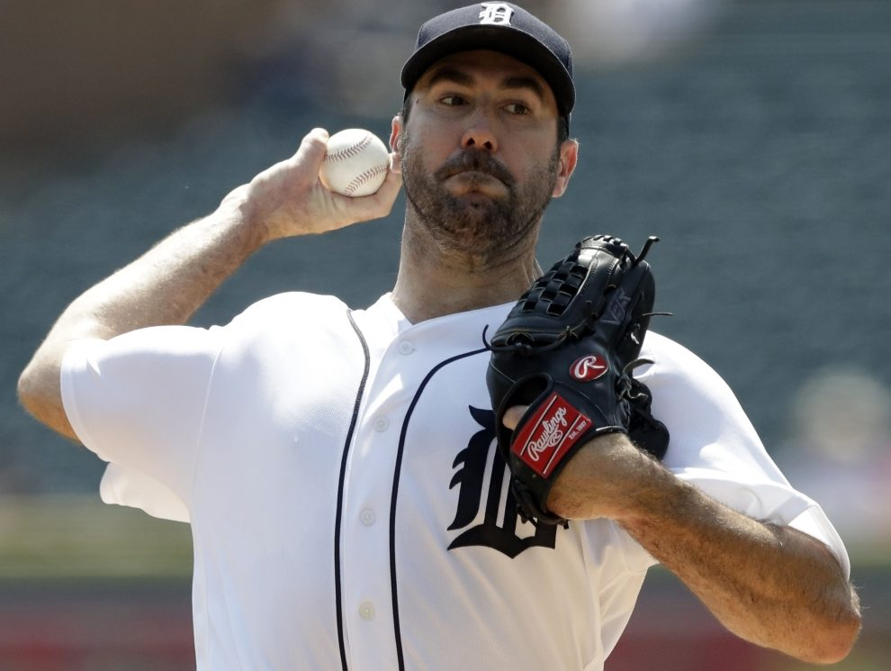Justin Verlander took a no-hitter into the sixth inning and earned his ninth win of the season as the Tigers beat the Dodgers 6-1 on Sunday in Los Angeles.
