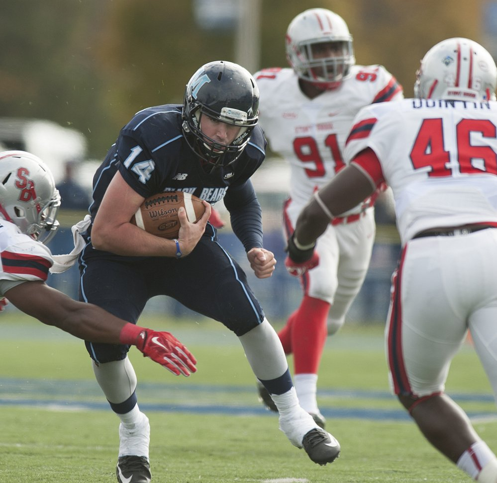 Drew Belcher has the size and athletic talent to switch to tight end for the Black Bears. In two years as a quarterback, he rushed for 626 yards.