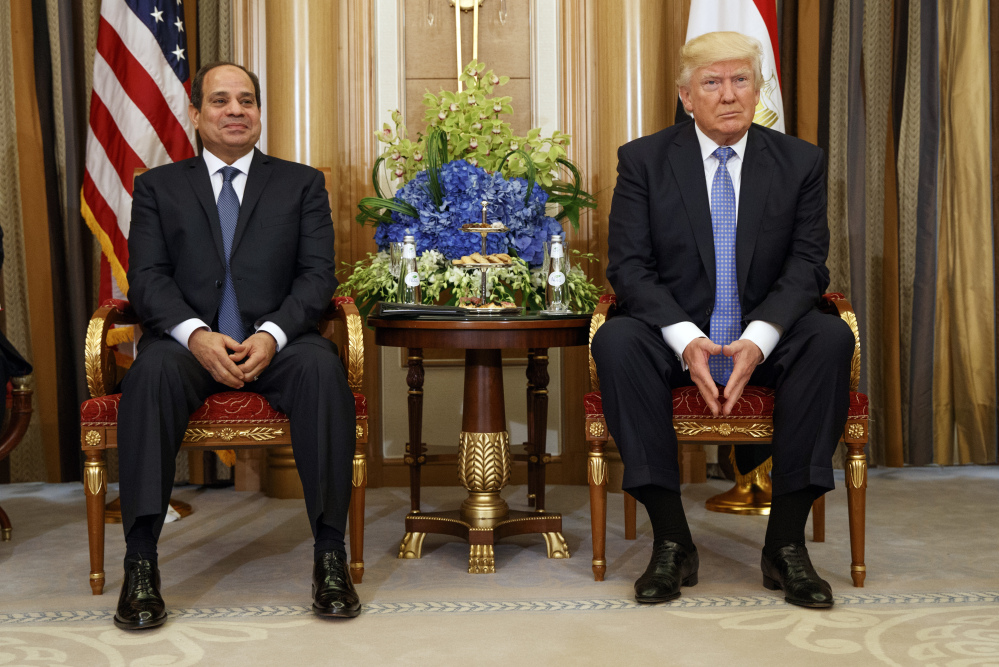 President Trump is shown at a meeting with Egyptian President Abdel Fattah al-Sisi in Riyadh in May. White House adviser Jared Kushner met with Egyptian leaders on Wednesday.