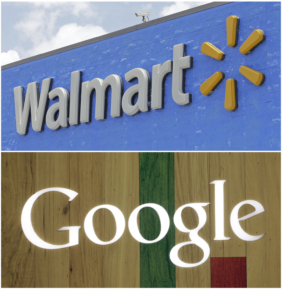 The partnership with Google underscores Wal-Mart's drive to compete in an area dominated by Amazon.
