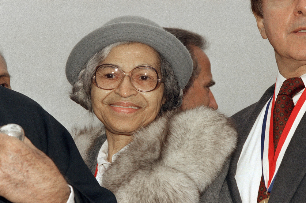 One false story circulating online in August is that the daughter of Rosa Parks, shown at Ellis Island in New York on Oct. 28, 1986, praised President Trump's response to violence in Charlottesville, Virginia. Parks, who didn't have any children, became a symbol of civil rights when she refused to give up her seat on a bus to a white passenger in Alabama in 1955.