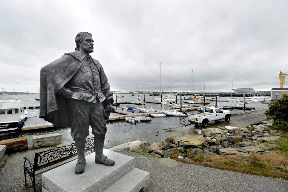 The Portland City Council rejected the gift of this statue of George Cleeve, the city's founder, which stands along the waterfront at Portland Yacht Services.