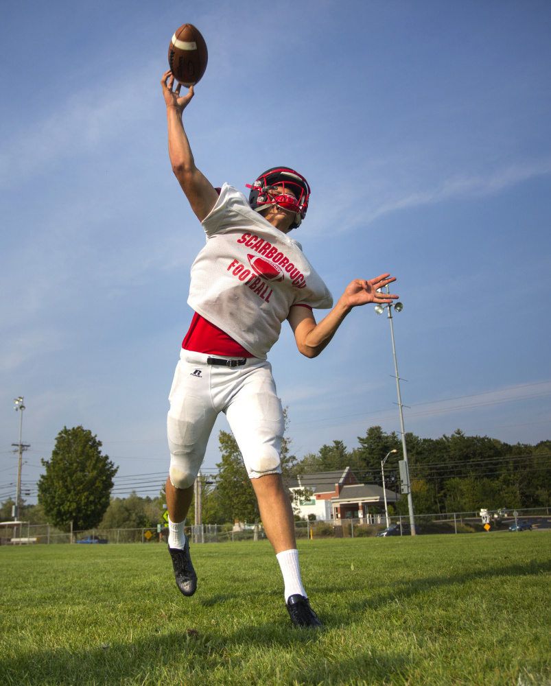 """Scarborough senior quarterback Zoltan Panyi unleashes a pass during practice. """"We still come out here and we work hard, but we know we're better, definitely,"""" says Panyi of a squad that made it to last season's regional championship game."""