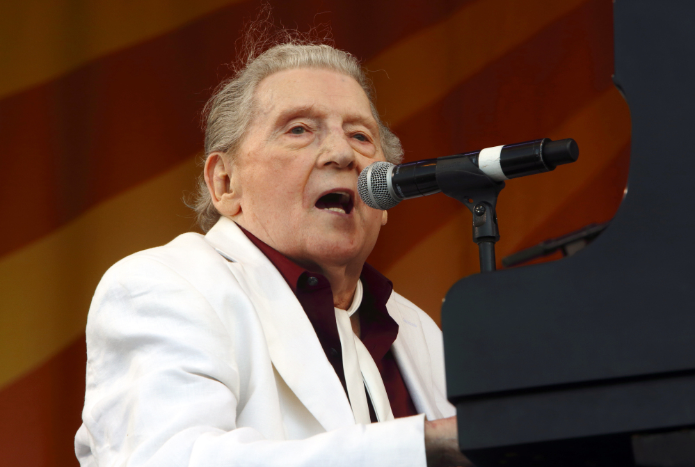 Jerry Lee Lewis performs at the New Orleans Jazz & Heritage Festival in New Orleans in 2015.